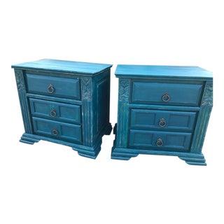 Vintage Rustic Teal Blue Nightstands-a Pair For Sale