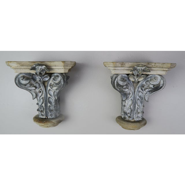 Pair of Italian carved wood & metal painted corbels, circa 1920s. Great wall accent or bookshelf for any style decor. They...