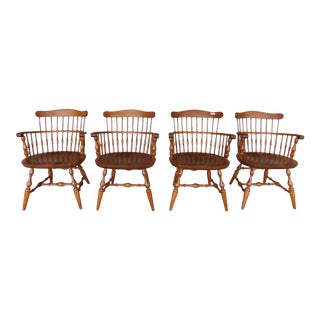 Nichols & Stone Set of 4 Comb Back Windsor Style Arm Chairs For Sale