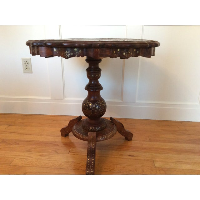 Traditional Vintage Carved Wood Brass & Copper Inlaid Pedestal Table For Sale - Image 3 of 8