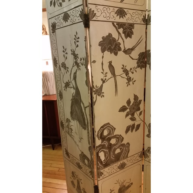 1920s 1920s Antique Chinese Gesso Screen Room Divider For Sale - Image 5 of 13