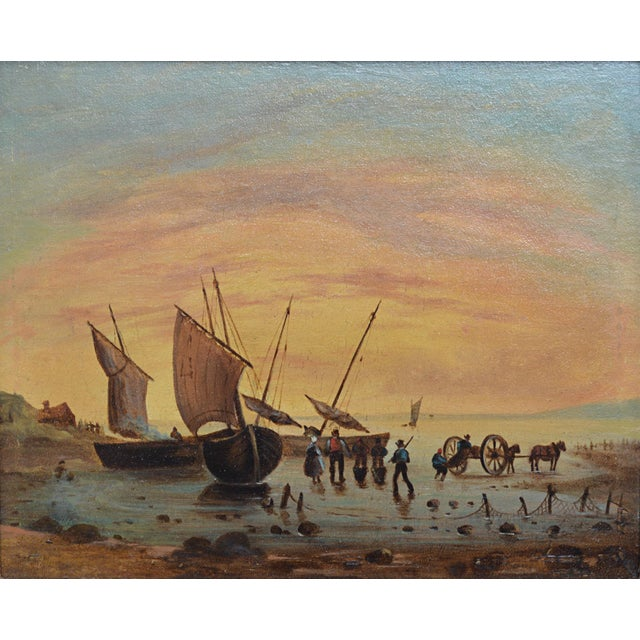 19th century oil on board in later frame; Continental school painting depicting sailing ships at shore with figures at the...