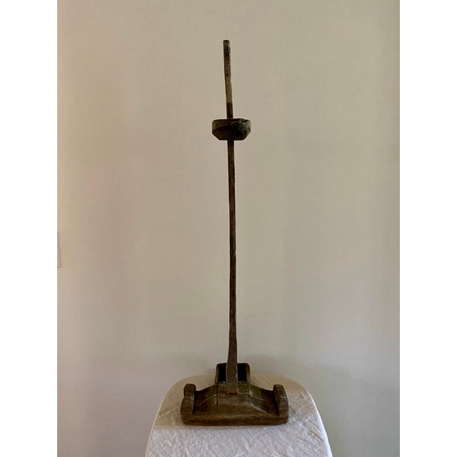 Tan Antique Oil Lamp Stand For Sale - Image 8 of 11