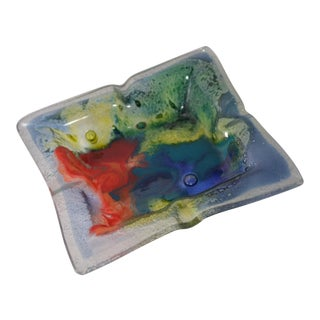 Vintage Colorful Glass Ashtray For Sale