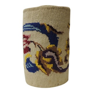 Vintage Red and Blue Tapestry Bellpull For Sale