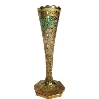 Antique Moser Bohemian Gold Gilt Enameled Art Glass Vase For Sale