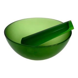 Vintage Minimalist Green Glass Mortar and Pestle - 2 Pieces For Sale