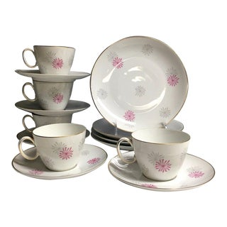 1970s Johann Haviland Rosenthal Cake and Tea Set for 4 - Cups, Saucers, Plates (14 Pcs.) For Sale