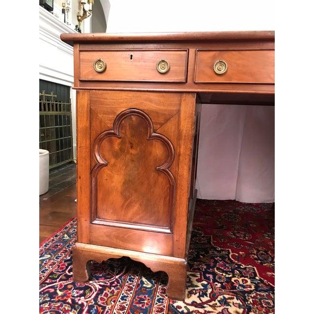 Antique Gothic Revival Oak Leather Top Partner's Desk For Sale - Image 9 of 12
