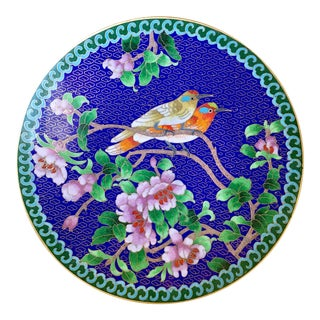 Cloisonne & Brass Floral Dish With Two Birds For Sale