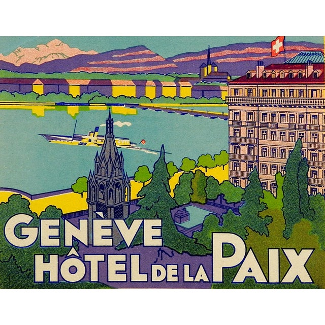 French Vintage Luggage Label, Geneve Hotel De La Paix For Sale - Image 3 of 3