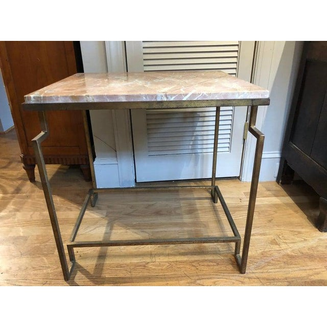 """Art Deco style gilt metal """"Apollo"""" occasional table. Excellent proportions, very architectural with a """"distressed"""" gilt..."""