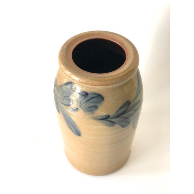 Ceramic Farmhouse Salt Glazed Vase With Cobalt Blue Floral Motif - Vintage For Sale - Image 7 of 12