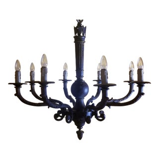 Large Louis XVI Style Solid Cast Brass Chandelier With 8-Light Quiver & Arrows