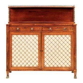 Exquisite English Regency Brass-Inlaid Rosewood Chiffonier Cabinet, Circa 1810-20