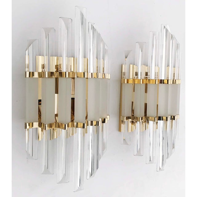 1970s 1970s Murano Glass and Brass Wall Sconces - a Pair For Sale - Image 5 of 7