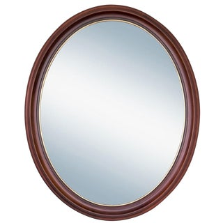 Oval Cherry Wood Mirror with Gilding For Sale
