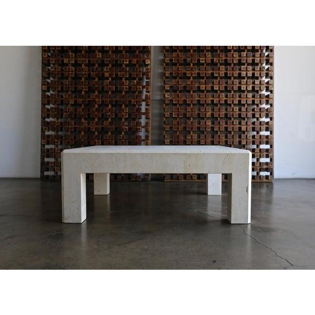 White Square Travertine Coffee Table Circa 1980 For Sale - Image 8 of 8