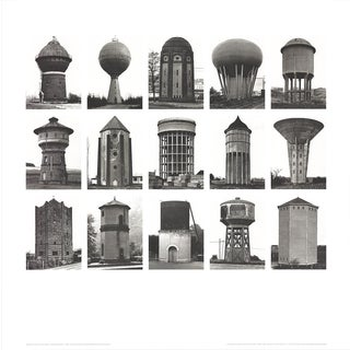 "Bernhard and Hilla Becher Water Towers (No Text) 27.5"" X 27.5"" Poster 1999 Minimalism Black & White, Gray For Sale"