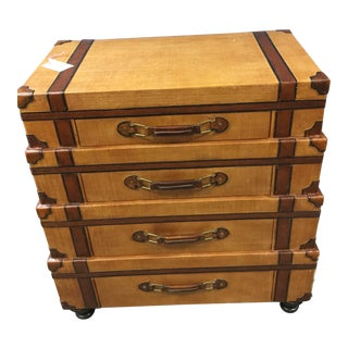Leather Inspired Suitcase Dresser Chest of Drawers Storage For Sale