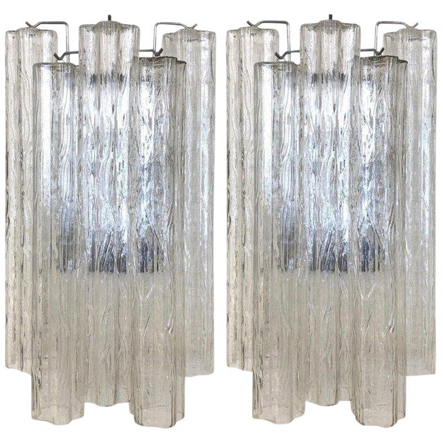 "Pair of Large Italian Murano Glass ""Tronchi"" Wall Sconces by Venini For Sale"