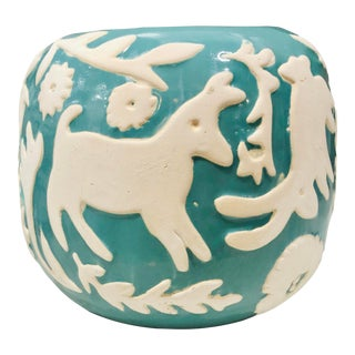 Turquoise Hued Ceramic Pot With Animal Scenery For Sale