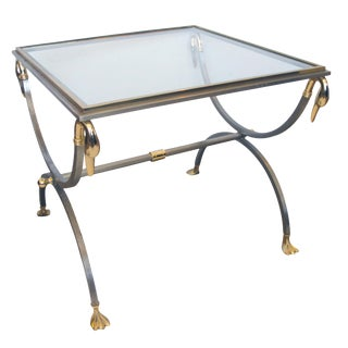 Good Quality French Brushed Steel & Brass Side Table W Glass Top & Swan Supports For Sale