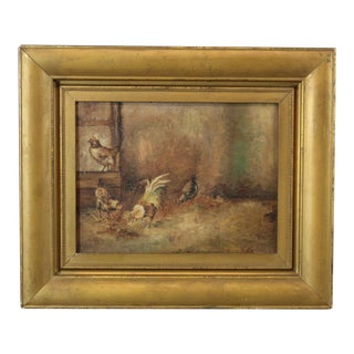 Antique Oil on Board Painting of Rooster & Chickens For Sale