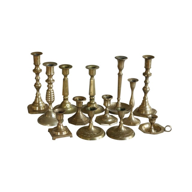 Mismatched Vintage Candle Holders, Set of 13 For Sale