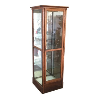 Early 20th Century Antique Glass Wood Lighted Display Showcase
