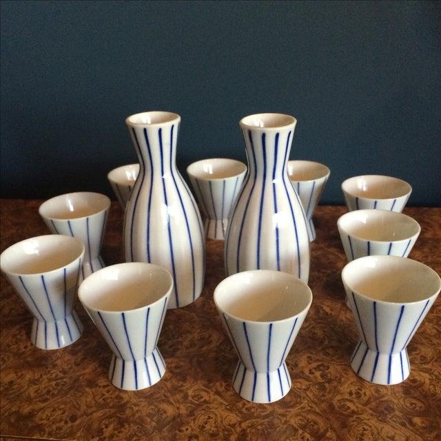 Blue & White Striped Sake Set - 12 Pieces - Image 3 of 5