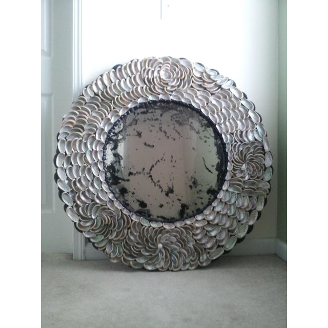 Abalones Shell Mirror With Antique Glass For Sale - Image 9 of 12