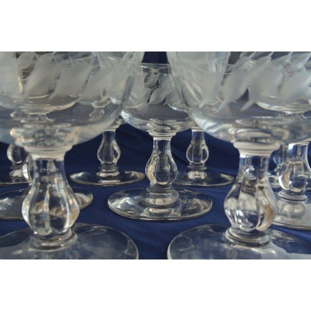 Antique Etched Crystal Champagne Coupes - Set of 9 For Sale - Image 5 of 11