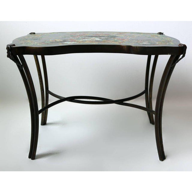 Hollywood Regency Philip and Kelvin LaVerne Pompadour Occasional Table in Patinated Bronze For Sale - Image 3 of 9