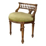Image of Vanity Chair, 19th Century French Louis XVI in Walnut For Sale