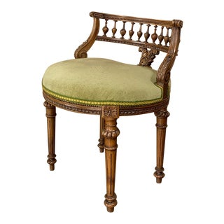 Vanity Chair, 19th Century French Louis XVI in Walnut For Sale