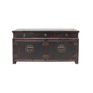 Chinese Oriental Zen Distressed Brown Console Sideboard Tv Cabinet