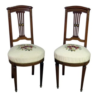 Vintage Mid-Century Directoire Style Slipper Chairs - A Pair