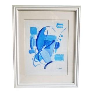 """Blue Sky 1"" Modern Blue & White Acrylic on Paper"