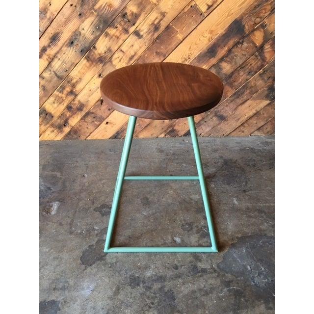 Walnut & Sage-Painted Steel Stool For Sale - Image 4 of 4