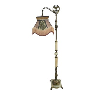 Antique 1920s Victorian Alabaster and Brass Bridge Floor Lamp For Sale