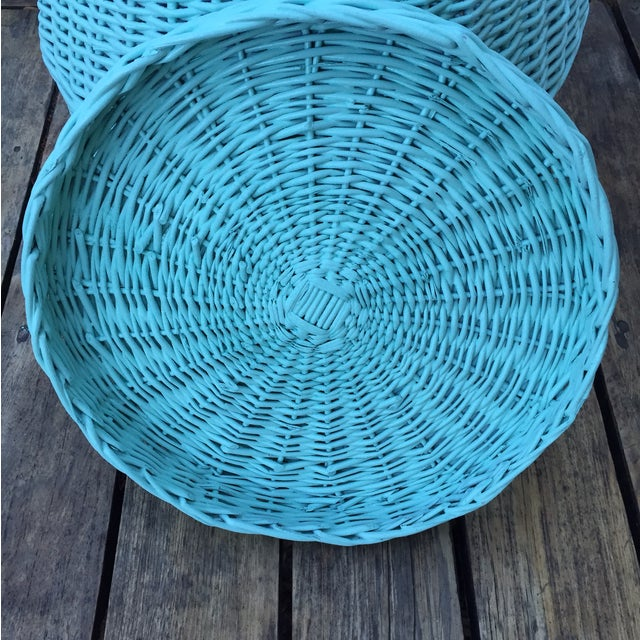 Vintage Turquoise Lidded Wicker Basket - Image 5 of 10