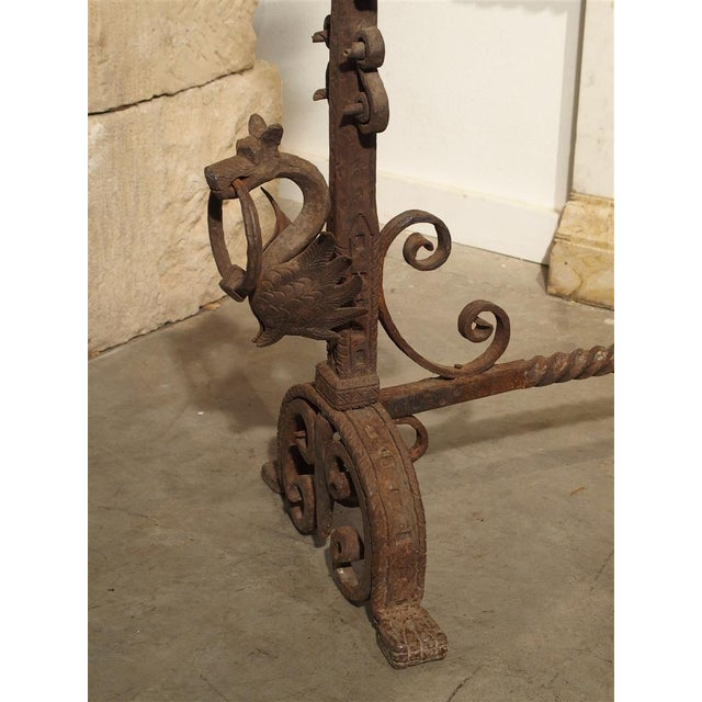 Pair of Tall Antique Forged Andirons from Antwerp Belgium, Circa 1870 For Sale - Image 5 of 9