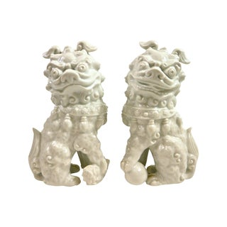 White Porcelain Foo Dogs- a Pair