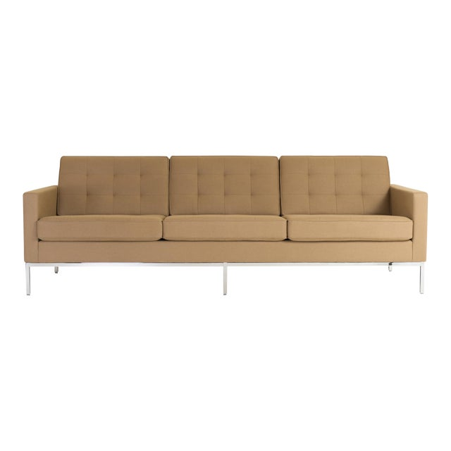 Florence Knoll Sofa in Camel Wool Flannel For Sale