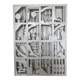 Early 20th Century Antique Louise Nevelson Style Painted White Found Object Wall Sculpture For Sale