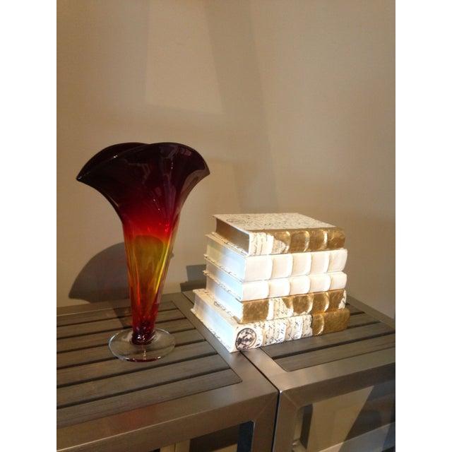 Blenko Glass Tangerine Fan Vase With Crystal Base - Image 3 of 3