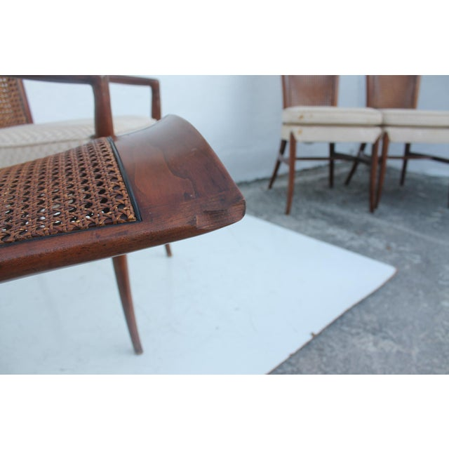 Robsjohn Gibbins Style Teak Cane Tall Back Dining Chairs Set of 6 For Sale - Image 11 of 11