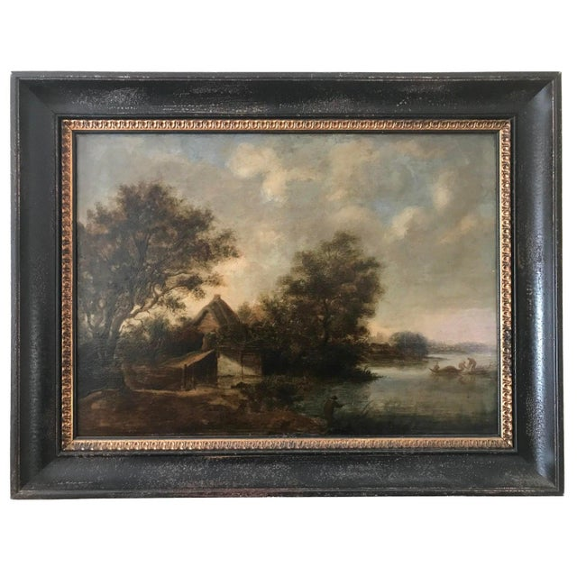 Antique Dutch Landscape Oil Painting Signed Ruisdael 17th Century For Sale - Image 9 of 9
