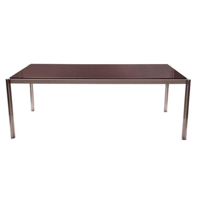 Rare Walnut and Aluminum Dining Table by Jens Risom For Sale